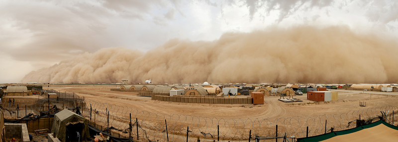 Description of  A sand storm approaches Camp Bastion from the west on May 16, 2014 in Afghanistan. Within an hour the worst of the storm had passed. (Photo by Cpl Daniel Wiepen RLC/Ministry of Defence Crown via Getty Images)