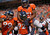 Denver Broncos teammate Joe Mays celebrates  defensive end Elvis Dumervil's sack of  Houston Texans' Quarterback Matt Schaub for a safety during the first quarter of play Sports Authority Field at Mile High in Denver, CO Sunday September 23, 2012.  Joe Amon/The Denver Post