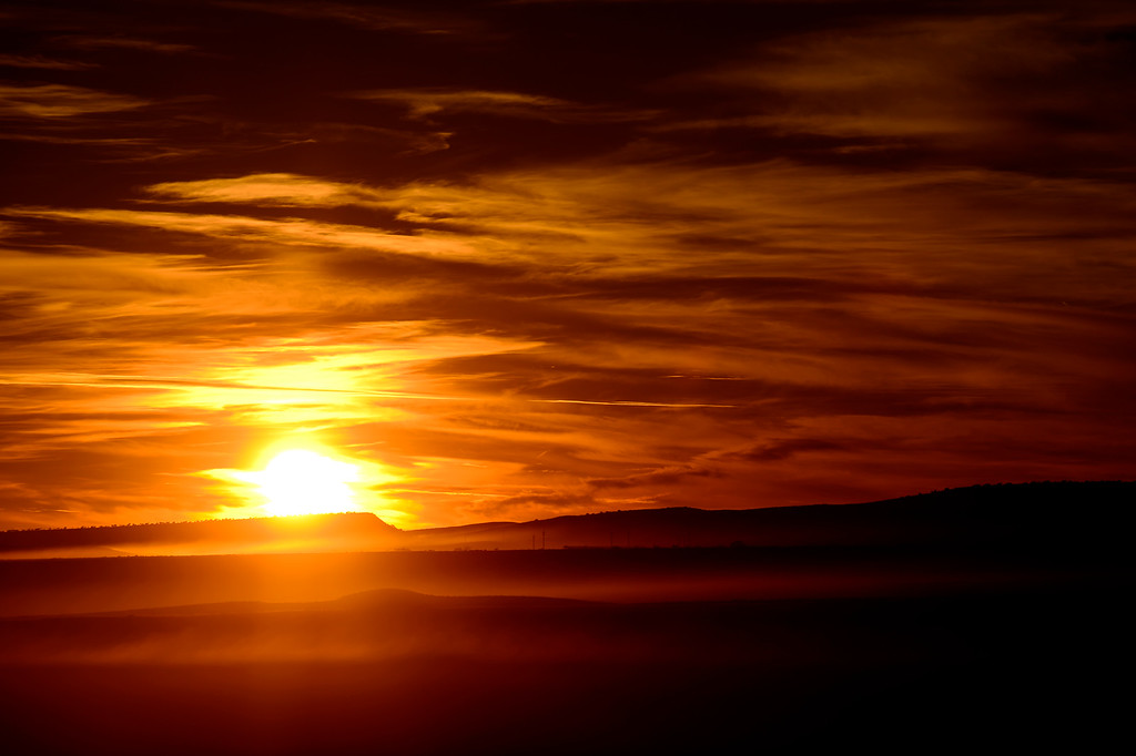 . The sun sets to the west of the Ute Mountain Ute reservation on November 7, 2013. (Photo by AAron Ontiveroz/The Denver Post)