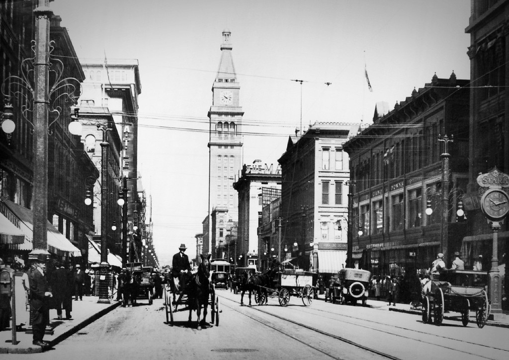 . Sixteenth Street in Denver, Colorado in the 1920\'s. (From the Denver Post Archive)