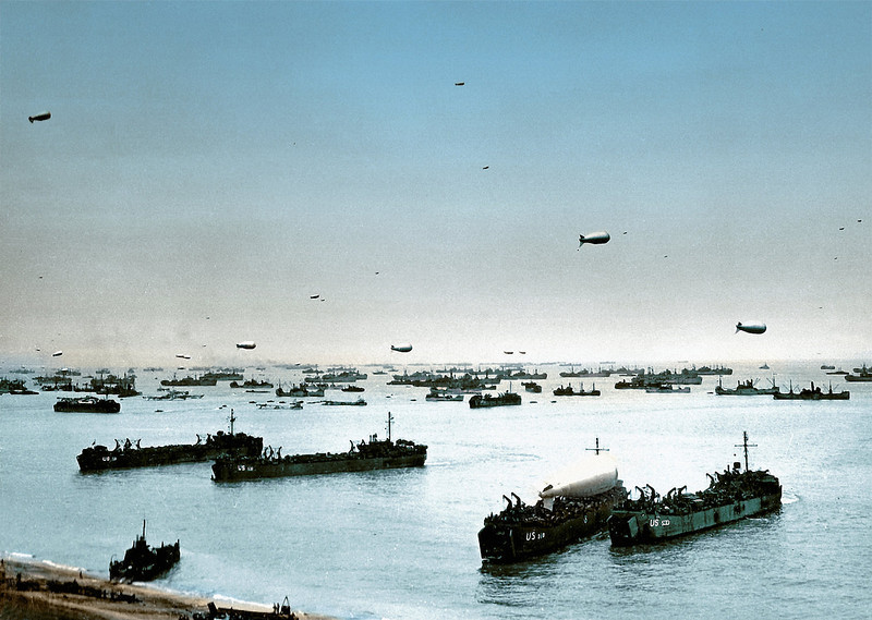 Description of  Allied ships, boats and barrage balloons off Omaha Beach after the successful D-Day invasion, near Colleville-sur-Mer, Normandy, France on June 9, 1944.  (Photo by Galerie Bilderwelt/Getty Images)