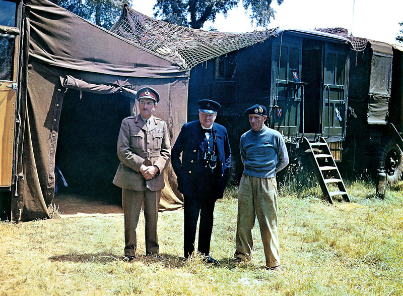 Description of  From left, Chief of the Imperial General Staff Field Marshal Sir Alan Brooke, British Prime Minister Winston Churchill and commander of the 21st Army Group, Field Marshal Bernard Montgomery in Normandy on June 12, 1944, six days after the D-Day landings during Operation Overlord Normandy in World War II.  (Photo by Galerie Bilderwelt/Getty Images)