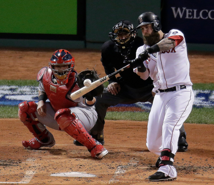 Description of . Boston Red Sox's Mike Napoli hits a three-run scoring double during the first inning of Game 1 of baseball's World Series against the St. Louis Cardinals Wednesday, Oct. 23, 2013, in Boston. (AP Photo/Charlie Riedel)
