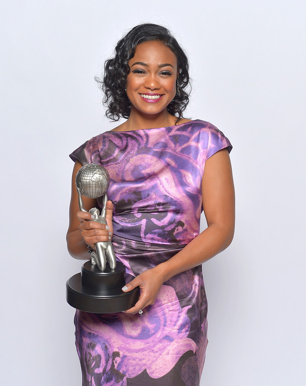 "Description of . LOS ANGELES, CA - FEBRUARY 01:  Actress Tatyana Ali, winner of Outstanding Actress in a Daytime Drama Series for \'The Young and the Restless,"" poses for a portrait during the 44th NAACP Image Awards at The Shrine Auditorium on February 1, 2013 in Los Angeles, California.  (Photo by Charley Gallay/Getty Images for NAACP Image Awards)"