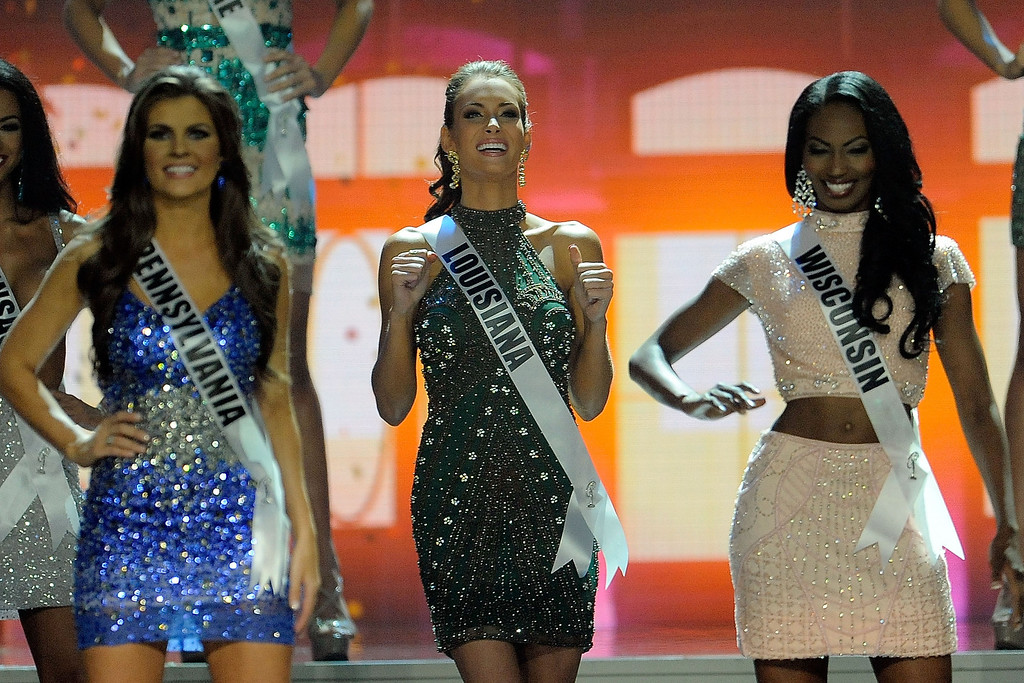 Description of . Miss Louisiana USA Brittany Alyson Guidry reacts after advancing in the 2014 Miss USA Competition at The Baton Rouge River Center on June 8, 2014 in Baton Rouge, Louisiana.  (Photo by Stacy Revere/Getty Images)