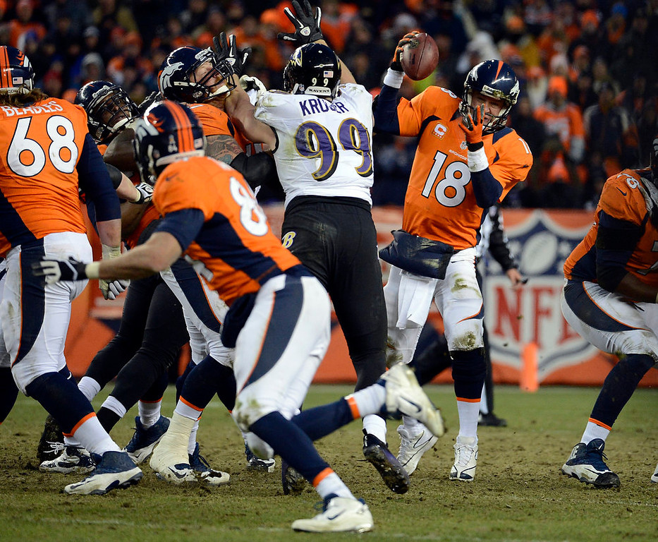 Description of . Denver Broncos quarterback Peyton Manning (18) tries to pull in the ball during the second half.  The Denver Broncos vs Baltimore Ravens AFC Divisional playoff game at Sports Authority Field Saturday January 12, 2013. (Photo by Tim Rasmussen,/The Denver Post)