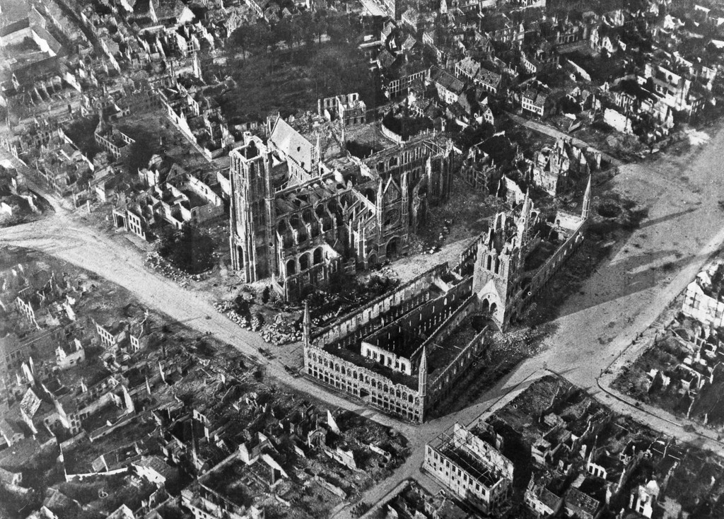 Description of . An early aerial photograph of the Belgium town of Ypres, the site of three major battles during World War I, and almost completely devastated by bombing.   (Photo by Hulton Archive/Getty Images)