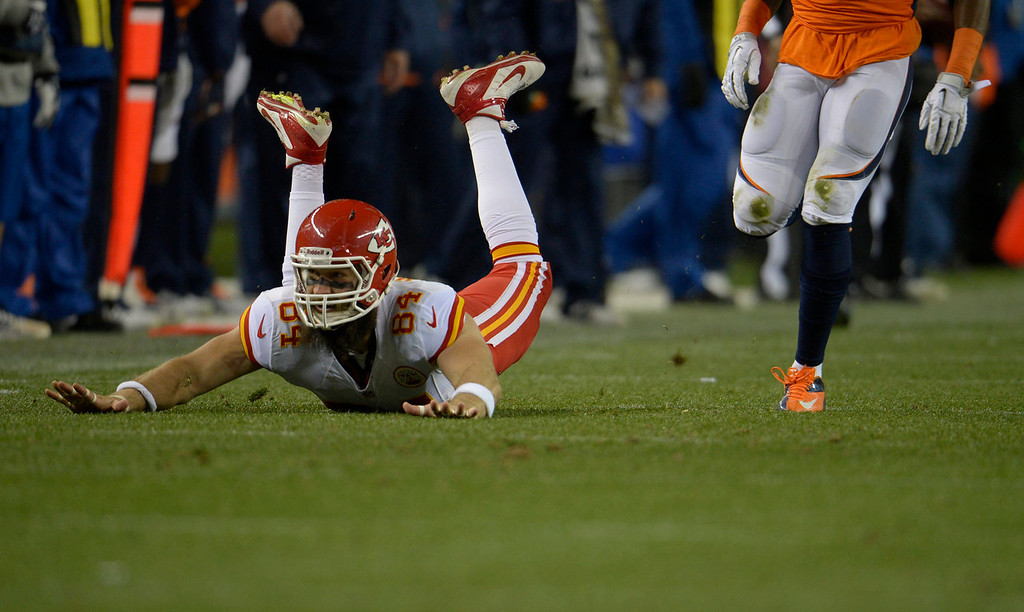 Description of . Kansas City Chiefs tight end Sean McGrath (84) misses a pass in the first quarter. The Denver Broncos take on the Kansas City Chiefs at Sports Authority Field at Mile High in Denver on November 17, 2013. (Photo by Joe Amon/The Denver Post)