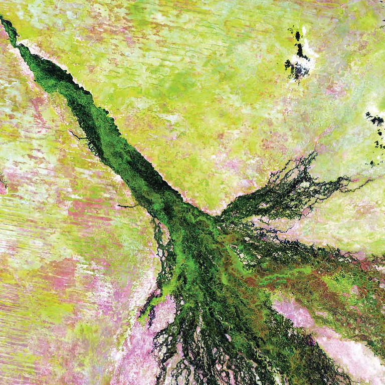 Description of . Okavango Delta, Botswana Southern Africa�s Okavango River spreads across the landscape of northern Botswana to become the lush Okavango Delta seen in this Landsat 5 image from 2009. The Okavango Delta is one of the world�s largest inland water systems, draining an area that ranges from 9,000 square kilometers (May�October) to 16,000 square kilometers (November�April). Millions of years ago, the Okavango River flowed into a large inland lake called Lake Makgadikgadi. Today, the delta forms where the river empties into a basin in the Kalahari Desert, creating a maze of lagoons, channels, and islands. This unique water system supports a vast array of wildlife, and vegetation flourishes even in the dry season.   NASA