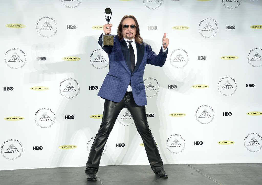 Description of . Inductee Ace Frehley of KISS attends the 29th Annual Rock And Roll Hall Of Fame Induction Ceremony at Barclays Center of Brooklyn on April 10, 2014 in New York City.  (Photo by Michael Loccisano/Getty Images)