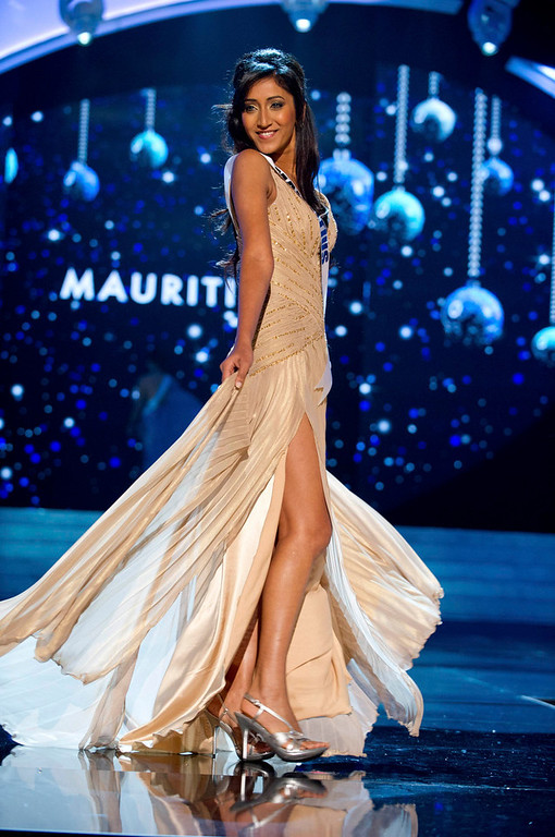 Description of . Miss Mauritius 2012 Ameeksha Dilchand competes in an evening gown of her choice during the Evening Gown Competition of the 2012 Miss Universe Presentation Show in Las Vegas, Nevada, December 13, 2012. The Miss Universe 2012 pageant will be held on December 19 at the Planet Hollywood Resort and Casino in Las Vegas. REUTERS/Darren Decker/Miss Universe Organization L.P/Handout