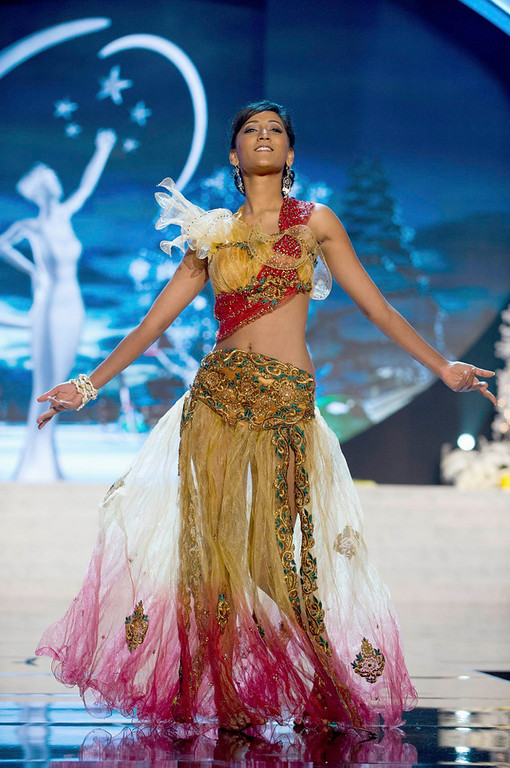 Description of . Miss Mauritius Ameeksha Dilchand performs onstage at the 2012 Miss Universe National Costume Show at PH Live in Las Vegas, Nevada December 14, 2012. The 89 Miss Universe contestants will compete for the Diamond Nexus Crown on December 19, 2012. REUTERS/Darren Decker/Miss Universe Organization L.P./Handout