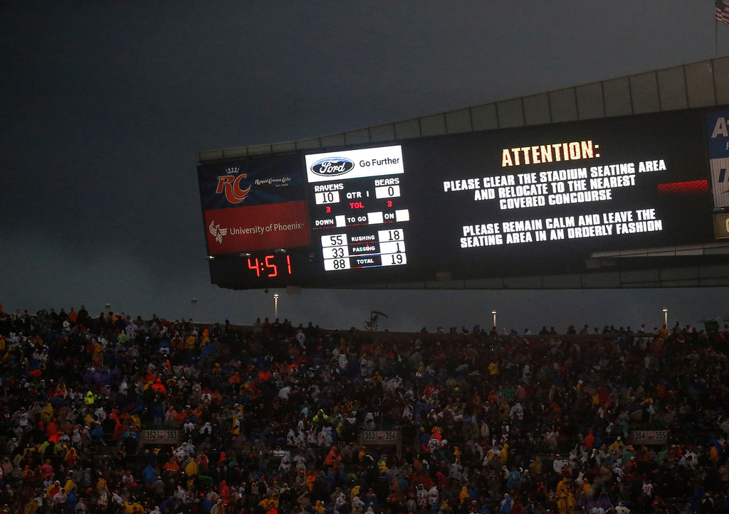 Description of . Fans are warned to take cover as a severe storm moves through Soldier Field during the first half of an NFL football game between the Chicago Bears and Baltimore Ravens, Sunday, Nov. 17, 2013, in Chicago. (AP Photo/Charles Rex Arbogast)