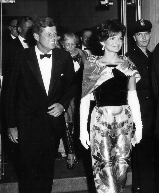 Description of . The president and first lady Jackie depart the National Theater on Sept. 25, 1962, in Washington, DC. National Archive/Newsmakers