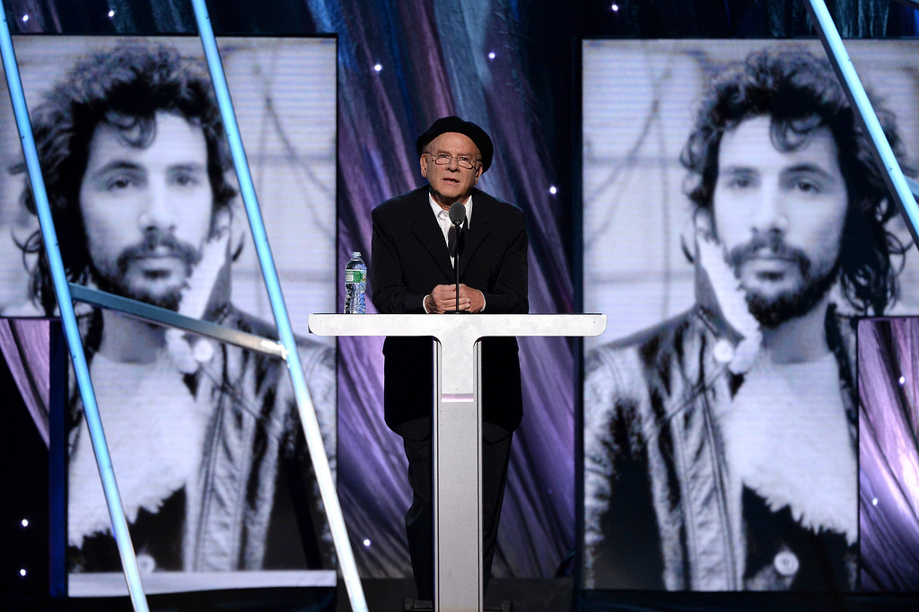 Description of . Musician Art Garfunkel speaks onstage at the 29th Annual Rock And Roll Hall Of Fame Induction Ceremony at Barclays Center of Brooklyn on April 10, 2014 in New York City.  (Photo by Larry Busacca/Getty Images)