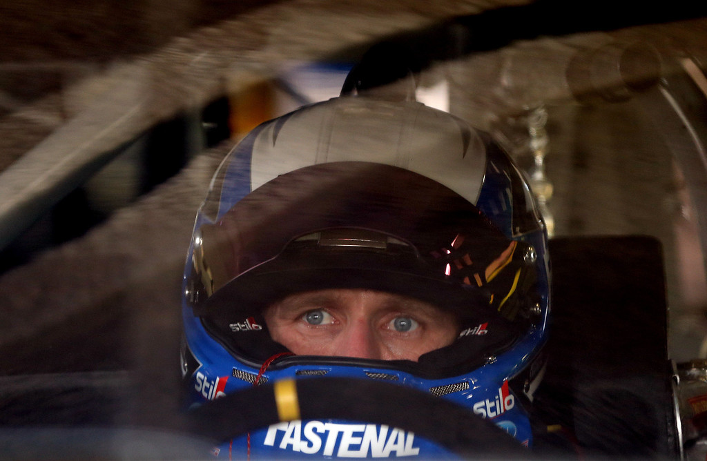 . DAYTONA BEACH, FL - FEBRUARY 20:  Carl Edwards, driver of the #99 Fastenal Ford, sits in his car during practice for the NASCAR Sprint Cup Series Daytona 500 at Daytona International Speedway on February 20, 2013 in Daytona Beach, Florida.  (Photo by Jonathan Ferrey/Getty Images)