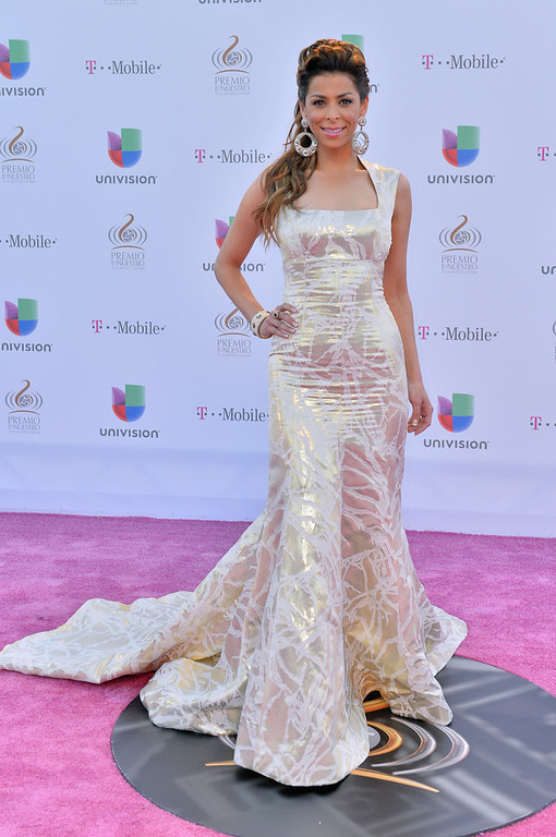 Description of . Lourdes Stephen arrives at the 25th Anniversary of Univision's