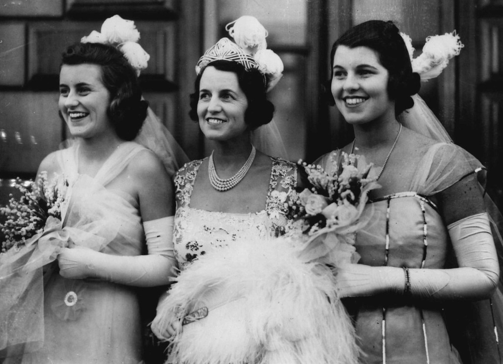 Description of . Rose Kennedy stands with daughters Kathleen, left, and Rosemary in London in 1938. Denver Post file