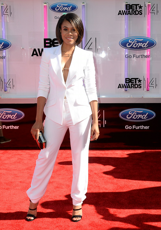 Description of . Actress Regina Hall attends the BET AWARDS '14 at Nokia Theatre L.A. LIVE on June 29, 2014 in Los Angeles, California.  (Photo by Earl Gibson III/Getty Images for BET)