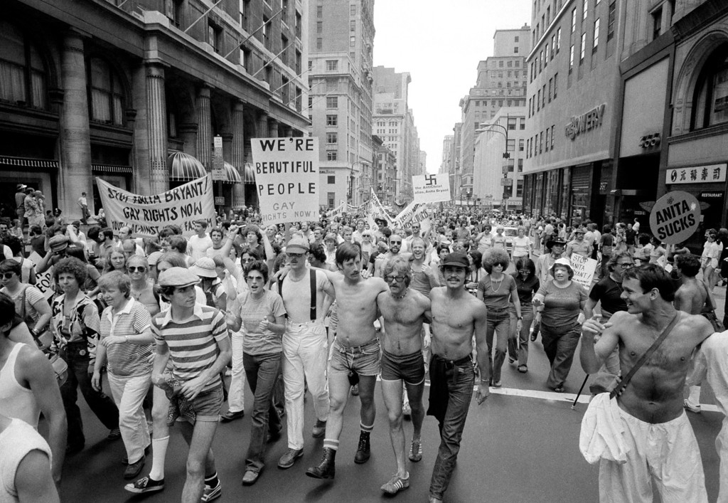 Description of . Homosexuals and their supporters march up New Yorkís Fifth Avenue, June 27, 1977 towards a rally site in Central Park. The march was duplicated in more than half a dozen cities around the nation, as groups demonstrated in support of demands for equal rights for homosexuals. (AP Photo/Carlos Rene Perez)