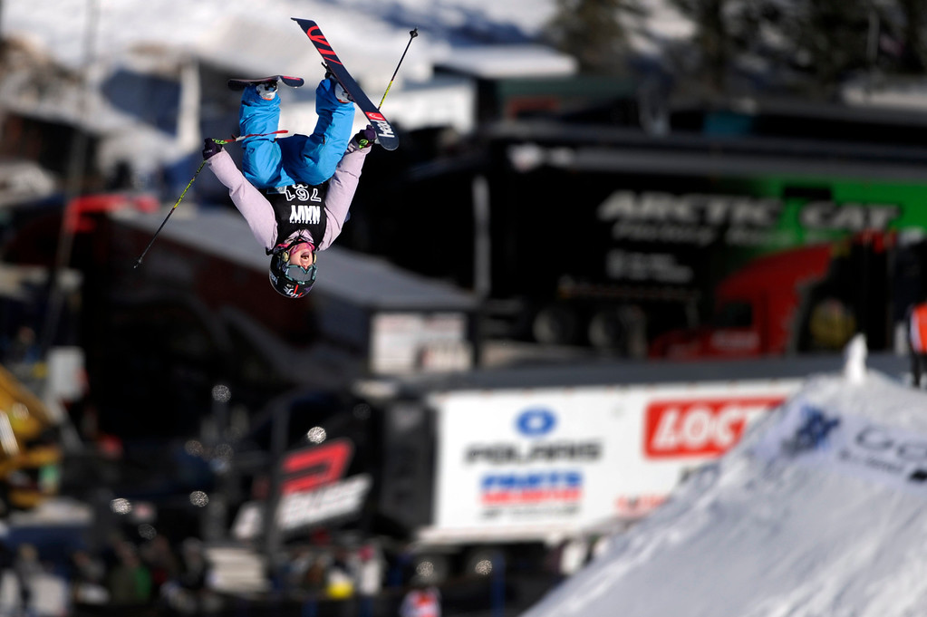 Description of . ASPEN, CO - January 27: Jamie Crane-Mauzy completes a double backflip during the women's Ski Slopestyle final at Winter X Games Aspen 2013 at Buttermilk Mountain on Jan. 27, 2013, in Aspen, Colorado. Crane-Mauzy finished seventh. (Photo by Daniel Petty/The Denver Post)