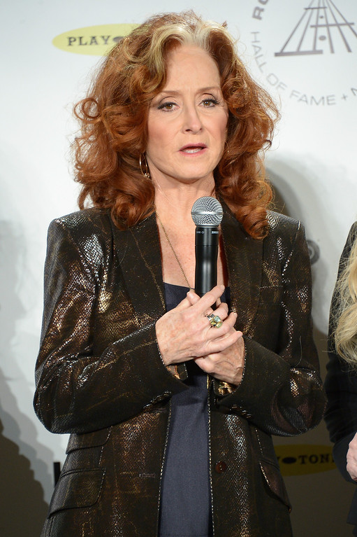 Description of . Recording artist Bonnie Raitt attends the 29th Annual Rock And Roll Hall Of Fame Induction Ceremony at Barclays Center of Brooklyn on April 10, 2014 in New York City.  (Photo by Michael Loccisano/Getty Images)