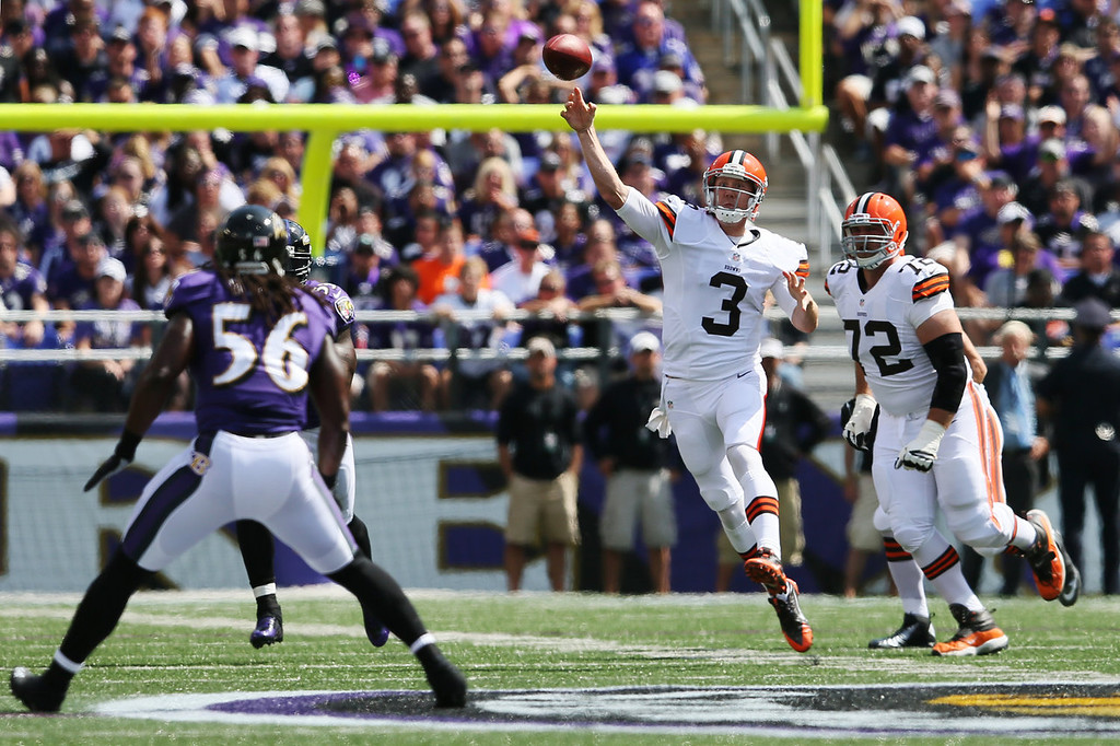 Description of . Quarterback Brandon Weeden #3 of the Cleveland Browns throws a first half pass against the Baltimore Ravens at M&T Bank Stadium on September 15, 2013 in Baltimore, Maryland.  (Photo by Rob Carr/Getty Images)