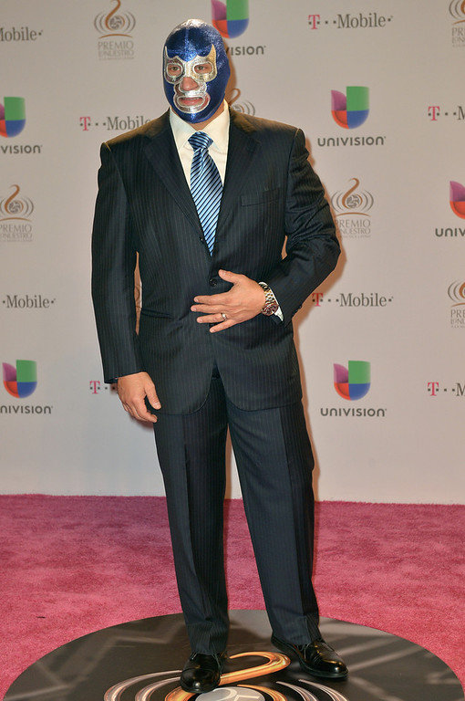 Description of . Blue Demon arrives at the 25th Anniversary Of Univision's
