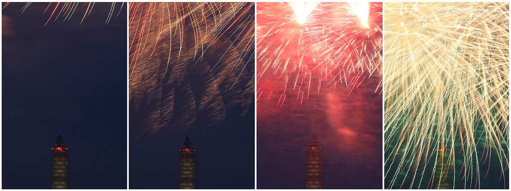 Description of . A combination photo shows Independence Day fireworks lighting the sky over the Washington Monument in Washington, July 4, 2013. REUTERS/Jonathan Ernst