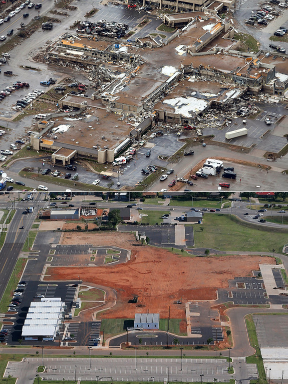 Description of . This aerial photo combination shows the damage to the Moore Medical Center Emergency Services on May 21, 2013, after a massive tornado hit Moore, Okla., the day before, top, and the same view on May 15, 2014, bottom. (AP Photo)