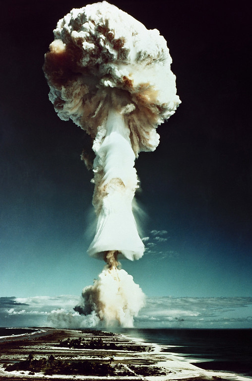 Description of . French atomic test explosion at the South Pacific Mururoa Atoll, France in June 1970. (AP Photo)