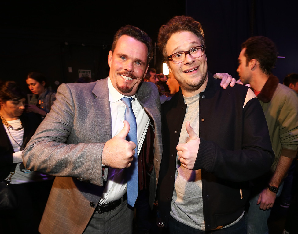 Description of . Actors Kevin Dillon (L) and Seth Rogen attend the 2014 MTV Movie Awards at Nokia Theatre L.A. Live on April 13, 2014 in Los Angeles, California.  (Photo by Christopher Polk/Getty Images)