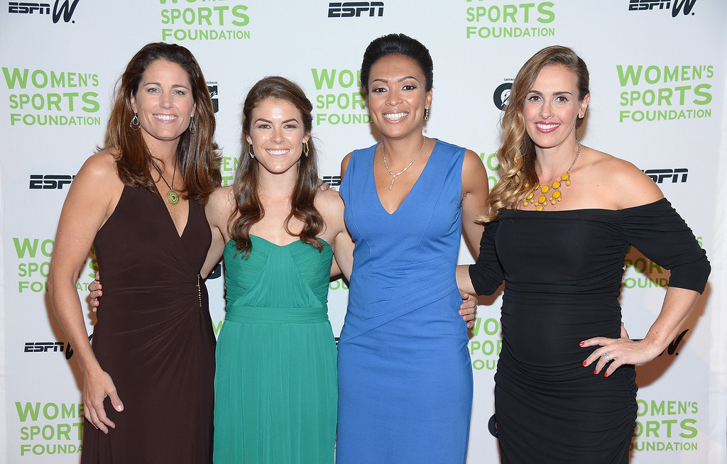 Description of . NEW YORK, NY - OCTOBER 16:  (L-R) Julie Foudy,  Kelley O'Hara, Angela Hucles and Heather Mitts attend the 34th annual Salute to Women In Sports Awards at Cipriani, Wall Street on October 16, 2013 in New York City.  (Photo by Michael Loccisano/Getty Images for the Women's Sports Foundation)