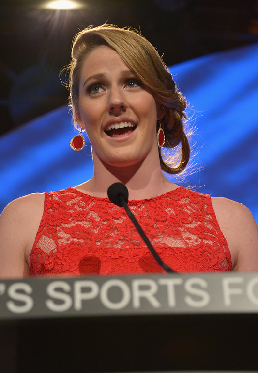 Description of . NEW YORK, NY - OCTOBER 16:  Olympic gold medalist Missy Franklin speaks onstage during the 34th annual Salute to Women In Sports Awards at Cipriani, Wall Street on October 16, 2013 in New York City.  (Photo by Mike Coppola/Getty Images for the Women's Sports Foundation)