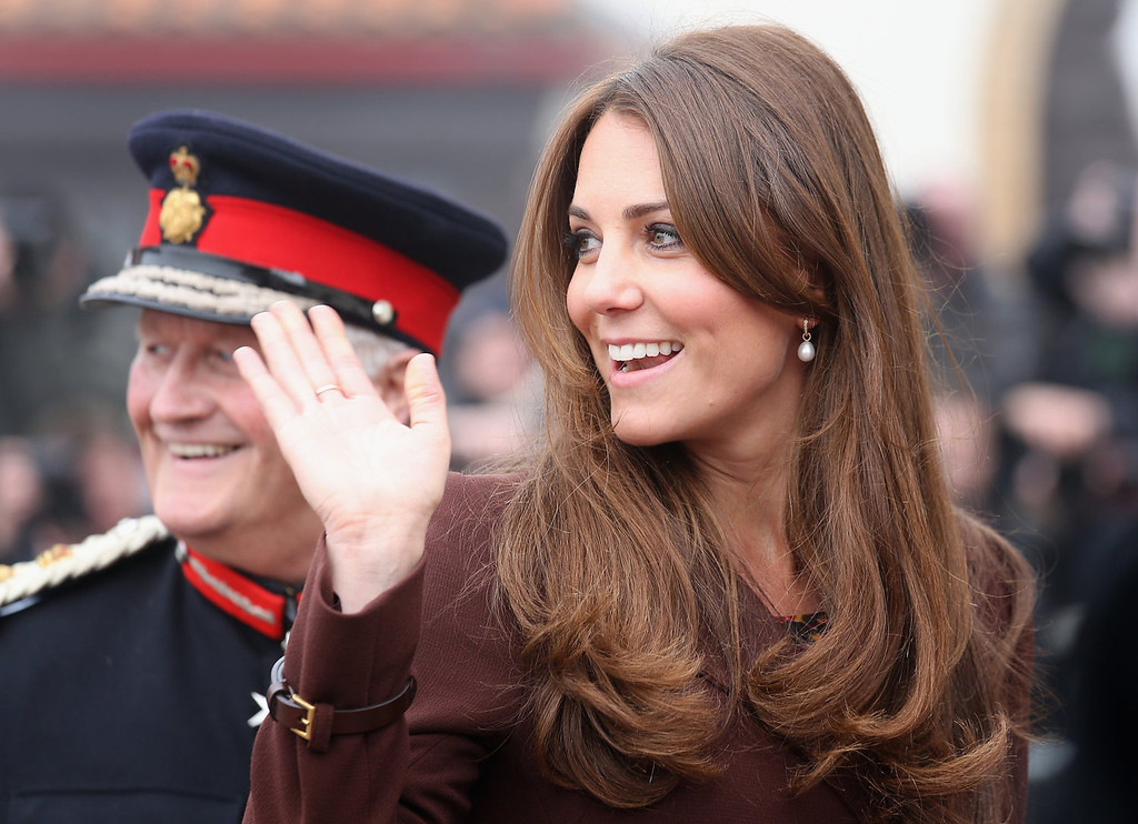 Description of . Catherine, Duchess of Cambridge arrives at the National Fishing Heritage Centre on March 5, 2013 in Grimsby, England. The pregnant Duchess of Cambridge is spending the day visiting Grimsby in the North East of England.  (Photo by Chris Jackson/Getty Images)