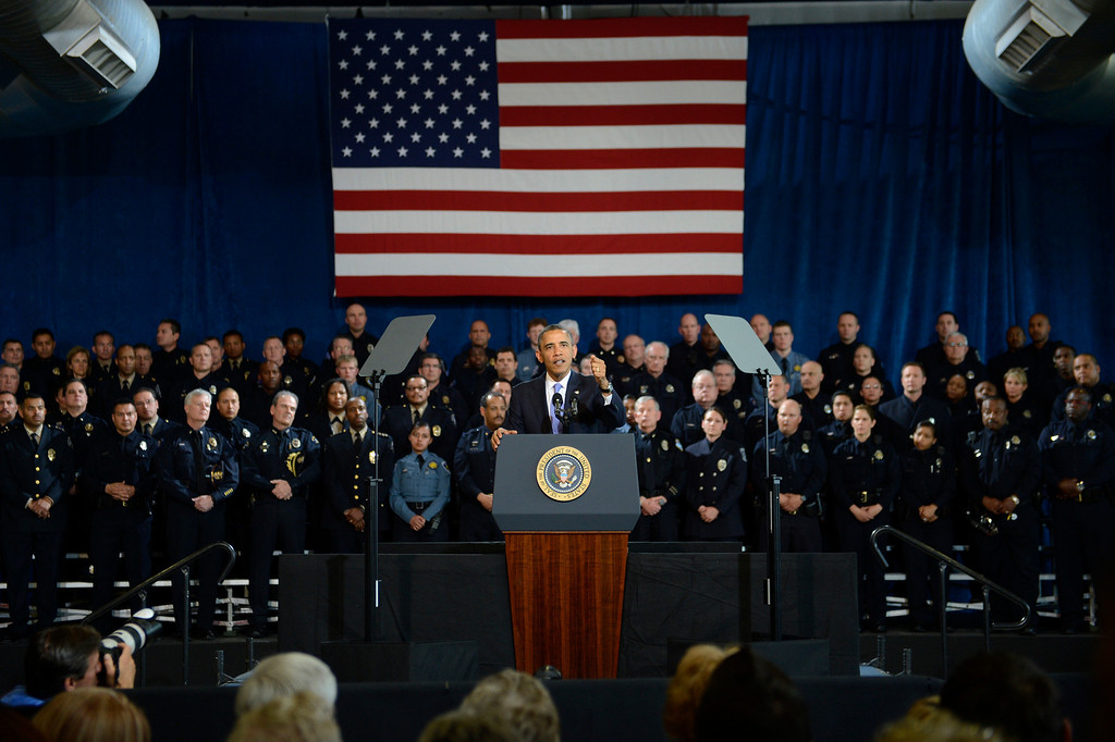 Description of . DENVER, CO. - APRIL 03: President Barack Obama speaking to uniformed officers community leaders at the Denver Police Academy calling for Congress to act more like the state's Democratic-controlled legislature to pass stronger gun-control laws April 03, 2013 Denver, Colorado. (Photo By Joe Amon/The Denver Post)