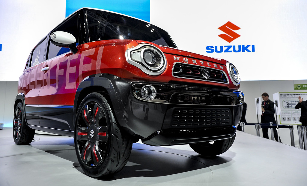 Description of . Suzuki Motor Corp. Hustler concept vehicle is on display during the 43rd Tokyo Motor Show 2013 at Tokyo Big Sight on November 20, 2013 in Tokyo, Japan.   (Photo by Keith Tsuji/Getty Images)