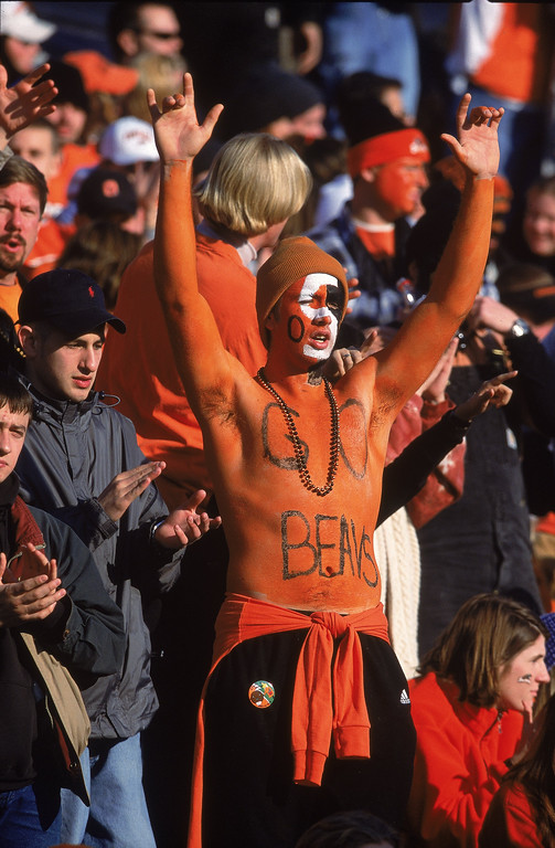 Description of . A general view of an Oregon State Beavers fan showing his support during the game against the Oregon Ducks at Reser Stadium in Corvallis, Oregon. The Beavers defeated the Ducks 23-13.Mandatory Credit: Otto Greule Jr.  /Allsport