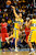 Denver Nuggets center Kosta Koufos (41) taps a loose ball out during the second half of the Nugget's 89-74 win at the Pepsi Center on Tuesday, January 1, 2013. AAron Ontiveroz, The Denver Post