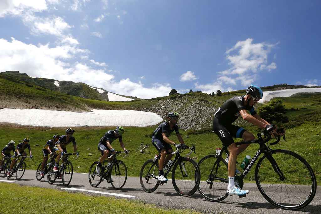 Description of . Britain's Christopher Froome (R) rides during the 195 km eighth stage of the 100th edition of the Tour de France cycling race on July 6, 2013 between Castres and Ax 3 Domaines, southwestern France.  JOEL SAGET/AFP/Getty Images