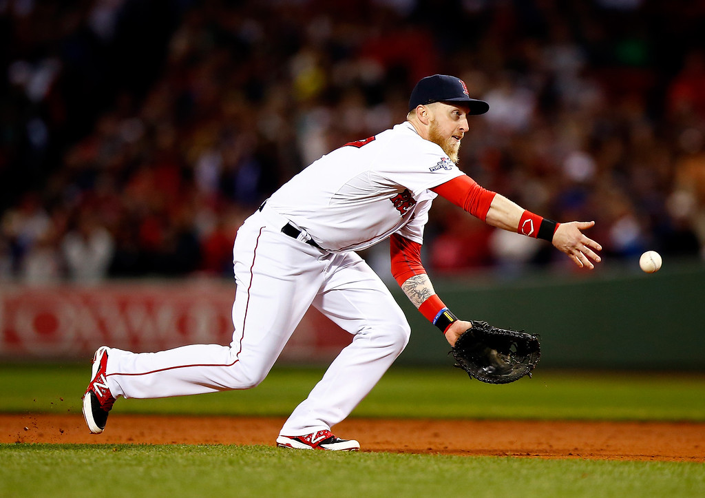 Description of . Mike Carp #37 of the Boston Red Sox flips the ball to first base in the seventh inning against the Detroit Tigers during Game Two of the American League Championship Series at Fenway Park on October 13, 2013 in Boston, Massachusetts.  (Photo by Jared Wickerham/Getty Images)