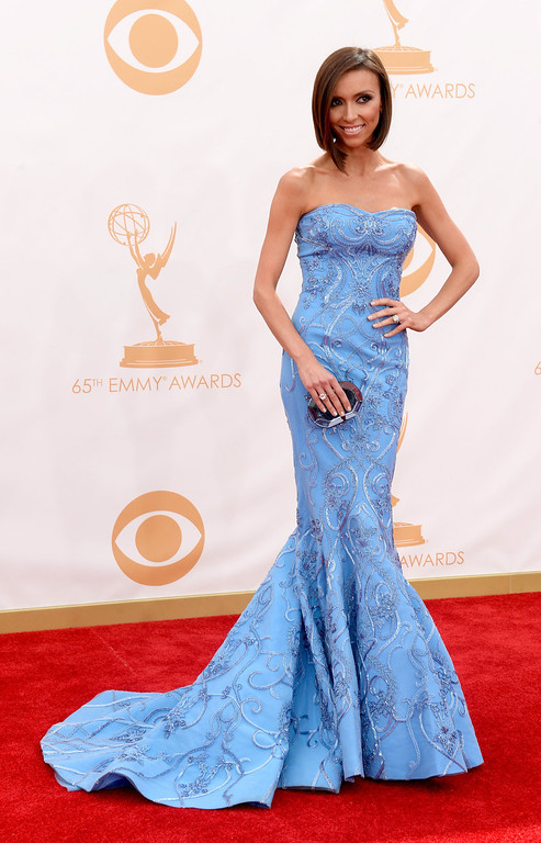 Description of . TV personality Giuliana Rancic arrives at the 65th Annual Primetime Emmy Awards held at Nokia Theatre L.A. Live on September 22, 2013 in Los Angeles, California.  (Photo by Frazer Harrison/Getty Images)