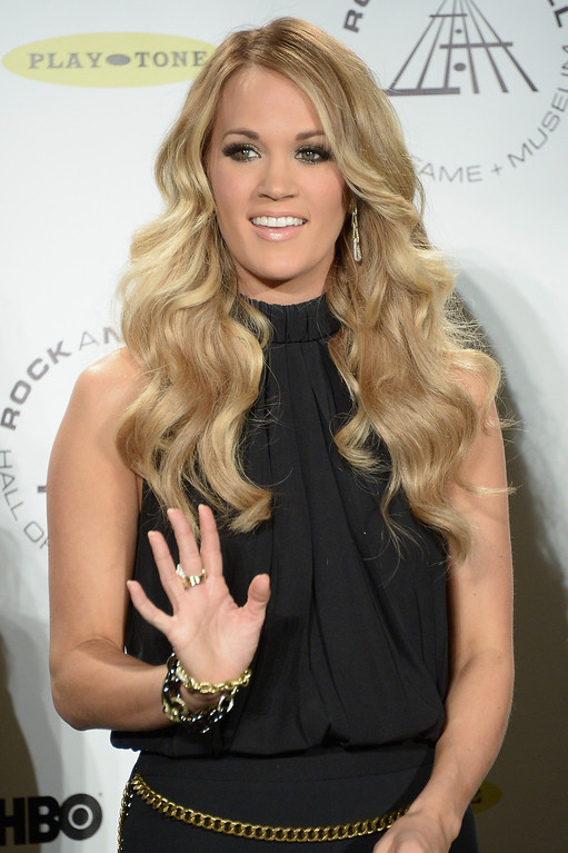 Description of . Singer Carrie Underwood attends the 29th Annual Rock And Roll Hall Of Fame Induction Ceremony at Barclays Center of Brooklyn on April 10, 2014 in New York City.  (Photo by Michael Loccisano/Getty Images)