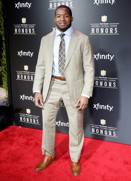 Description of . Alfred Morris of the Washington Redskins arrives at the 2nd Annual NFL Honors on Saturday, Feb. 2, 2013 in New Orleans. (Photo by AJ Mast/Invision/AP)