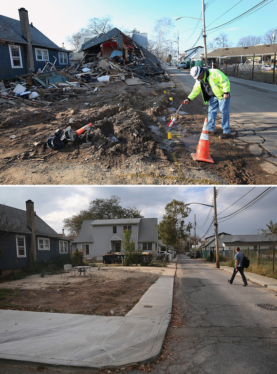 Description of . NEW YORK, NY - JANUARY 04: (top) A gas worker marks a gas line in front of homes damaged by Superstorm Sandy on January 4, 2013 in the New Dorp area of the Staten Island borough of New York City.  NEW YORK, NY - OCTOBER 17: (bottom)  A lot sits vacant, having been cleared of a destroyed home after Hurricane Sandy October 17, 2013 in the New Dorp area of Staten Island borough of New York City. Hurricane Sandy made landfall on October 29, 2012 near Brigantine, New Jersey and affected 24 states from Florida to Maine and cost the country an estimated $65 billion.  (Photos by John Moore/Getty Images)