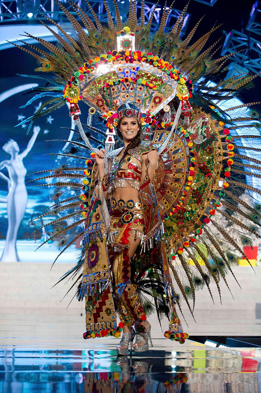 Description of . Miss Mexico Karina Gonzalez performs onstage at the 2012 Miss Universe National Costume Show at PH Live in Las Vegas, Nevada December 14, 2012. The 89 Miss Universe Contestants will compete for the Diamond Nexus Crown on December 19, 2012. REUTERS/Darren Decker/Miss Universe Organization/Handout