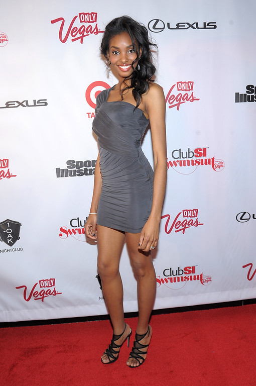 Description of . SI Swimsuit Model  Adaora attends Club SI Swimsuit at 1 OAK Nightclub at The Mirage Hotel & Casino on February 14, 2013 in Las Vegas, Nevada.  (Photo by Michael Loccisano/Getty Images for Sports Illustrated)