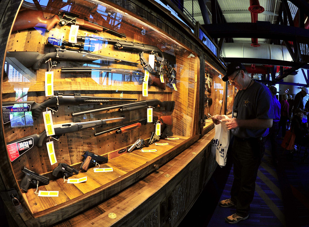 Description of . Some of several hundred weapons that will be raffled off, are displayed on the
