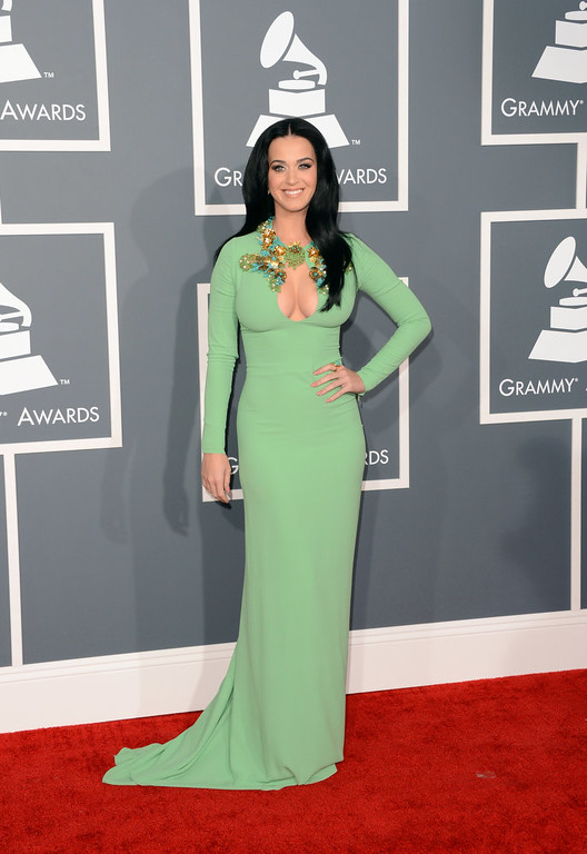 Description of . Singer Katy Perry arrives at the 55th Annual GRAMMY Awards at Staples Center on February 10, 2013 in Los Angeles, California.  (Photo by Jason Merritt/Getty Images)