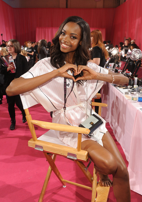 Description of . Model Maria Borges poses at the 2013 Victoria's Secret Fashion Show hair and makeup room at Lexington Avenue Armory on November 13, 2013 in New York City.  (Photo by Jamie McCarthy/Getty Images)